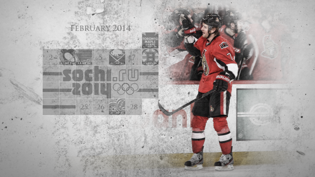 February 2014 Senators Calendar Wallpaper